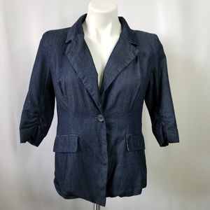 Just Ginger Chambray 3/4 Ruched Sleeve Blazer M
